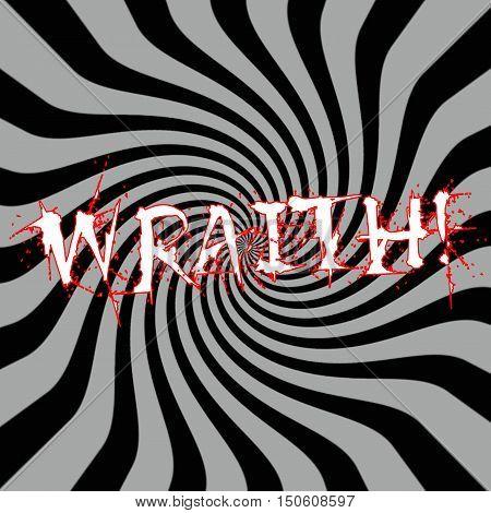 Wraith wording on Striped sun black-gray background