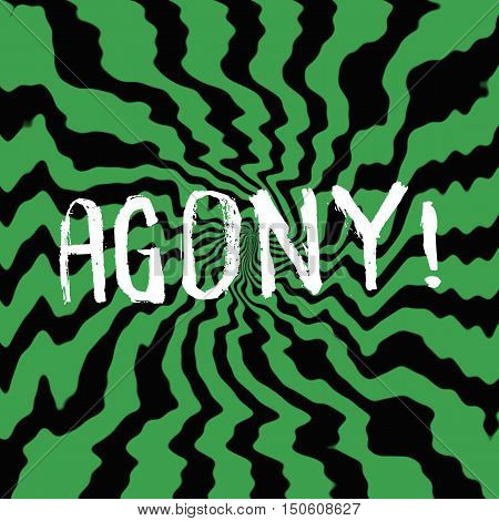agony wording on Striped sun black-green background
