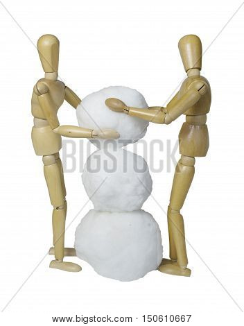 Building a snowman together by piling balls of snow together - path included