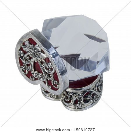 Silver Heart Box with red velvet and Big Diamond - path included