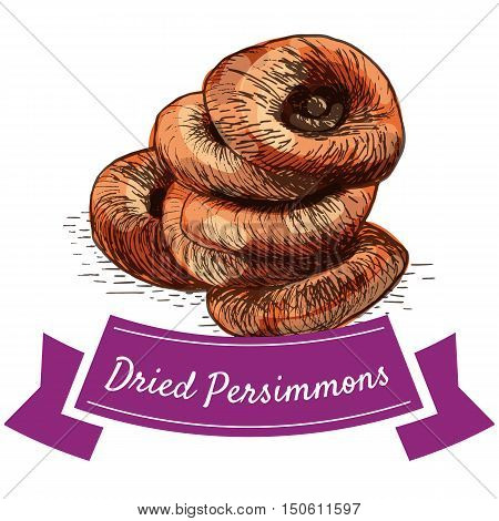 Dried persimmons colorful illustration. Vector illustration of dried persimmons.