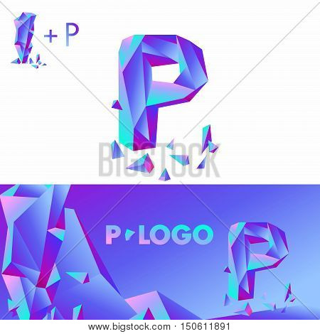 Template P brand name companies. Corporate Identity for the company with the letter P: logo, background. Creative logo, bulk ice DIAMOND GLASS letter P