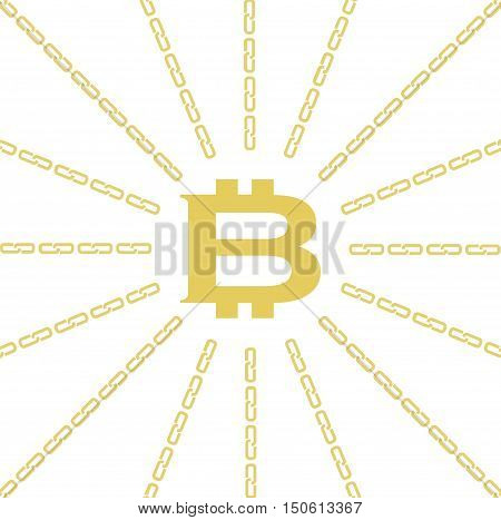 Blockchain concept. Vector illustration with cryptocurrency bitcoin emblem in the center and chain around the perimeter on white background.