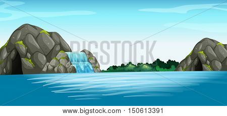 Scene with waterfall and cave illustration