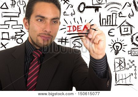 young handsome businessman writing IDEA on whiteboard with marker concept of inspiration
