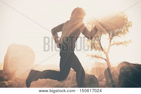 young guy running in a beautiful nature. This is a 3d render illustration
