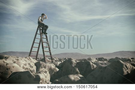 Businessman climbed on top of the stairs looking up to horizon. Success business and ambitions concept. This is a 3d render illustration