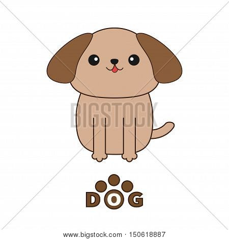 Little glamour tan Shih Tzu dog text with paw print.. Cute cartoon character. Pet baby collection. Isolated. White background. Flat design. Vector illustration. Vector illustration