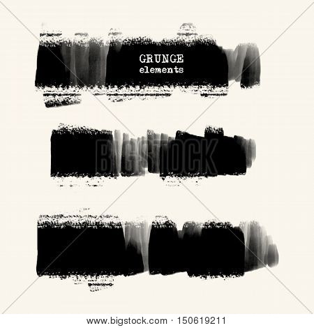 Vector set of black brush strokes. Grunge isolated elements. Dirty ragged brushes for your design. Freehand. Watercolor splash. Acrylic stamp. Vector illustration