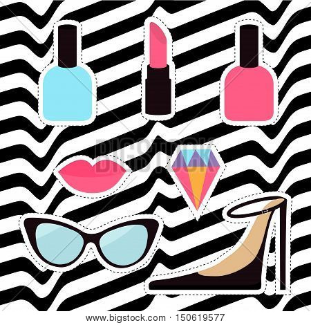 Quirky cartoon sticker patch badge set. Woman Fashion pin. Lipstick diamond gem shoes lips sunglasses eye glasses nail polish White black wave abstract line optical background Flat design Vector