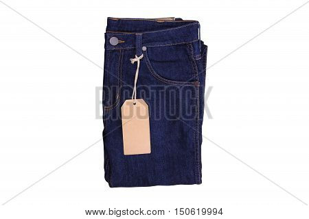 Isolated blue navy jean, Blue navy jean with label on white background