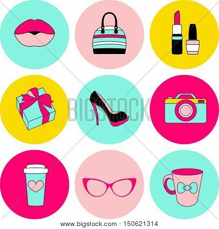 Vector icons stickers and labels glamor female items circle set