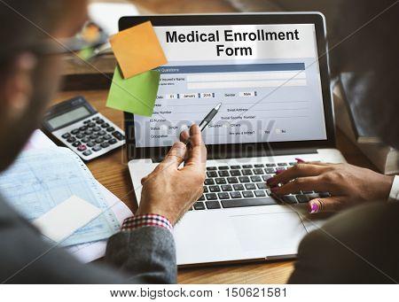 Medical Enrollment Form Document Medicare Concept