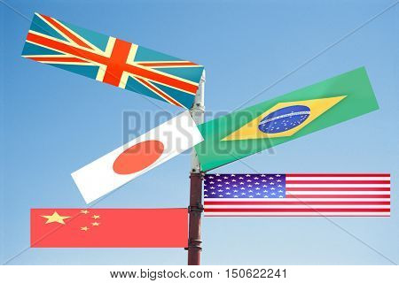 Metal Sign Post pointing to various flags