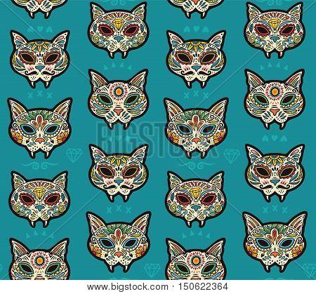 Seamless pattern - Day of The Dead cartoon calaveras sugar cat skulls. Mexican vector background for holiday Dia de Muertos