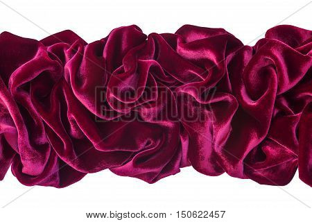 Wavy burgundy velvet isolated on white background