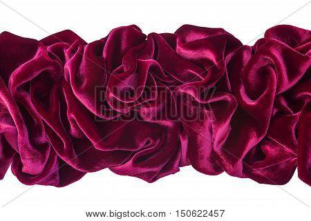 Wavy burgundy velvet isolated on white background
