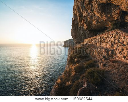 A Stairway Cut into the Cliff of Capo Caccia leading to Cave of Neptune (Grotte di Nettuno) near Alghero Sardinia Italy