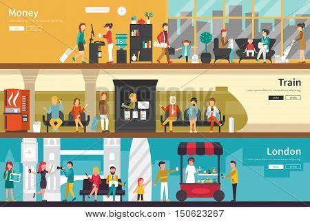 Money Train London flat tourism interior outdoor concept web. Career Chart Fun