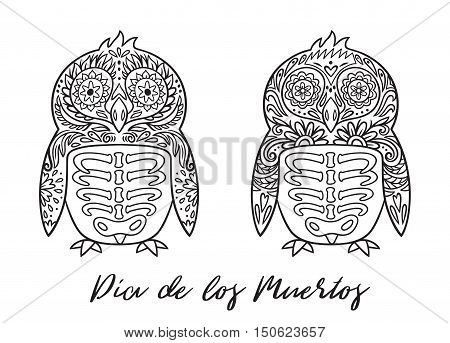 Penguin sugar Mexican skulls set. Vector illustration. Mexican day of the dead. Freehand drawing. Coloring book page.
