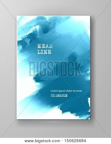 Blue abstract design. Ink paint on brochure Color element isolated on white. Grunge banner paints. Simple composition. Liquid ink. Background for banner card poster identity web design.