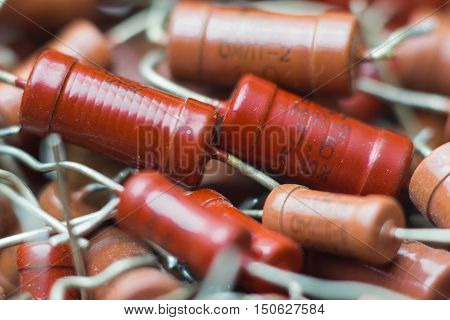 Vintage soviet electronic parts high-power red resistor