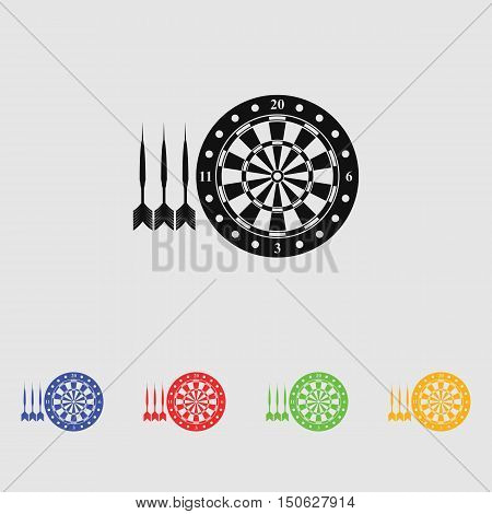 Darts and dartboard  vector icon for web and mobile