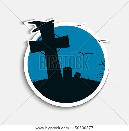 Sticker Design (icons) on Halloween night with blue skies and a cemetery on a hill. Vector illustration