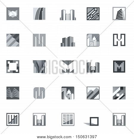 Set of grey real estate business logo templates