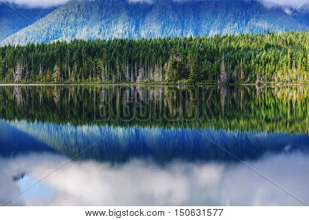 Vancouver Island. Serenity scene on the mountains lake. Beautiful British Columbia. Canada.