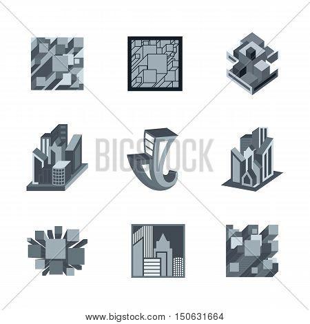 Grey 3D Vector icons set for business branding design