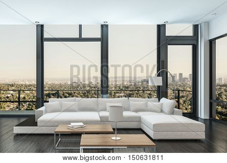 Large modern white modular sofa and day bed in a luxury apartment living room interior with floor-to-ceiling view windows overlooking an exterior patio and city skyline, 3d rendering