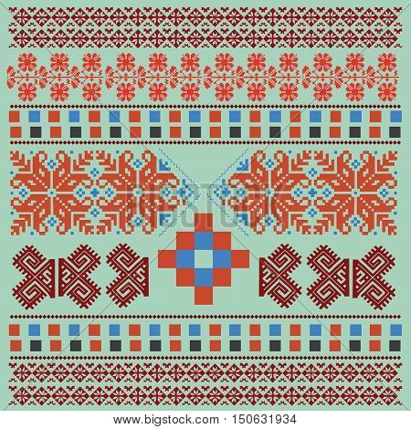 Ethnic National Ornament. Vintage Nordic Ornament. Retro Geometric Embroidery Swatch. Green and Burgundy Red Digital background vector illustration.