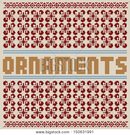Ethnic National Floral Ornament. Vintage Nordic Ornament. Retro Geometric Embroidery Swatch. Beige Burgundy digital background vector illustration.