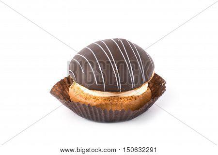 Cake with chocolate fudge isolated on white background