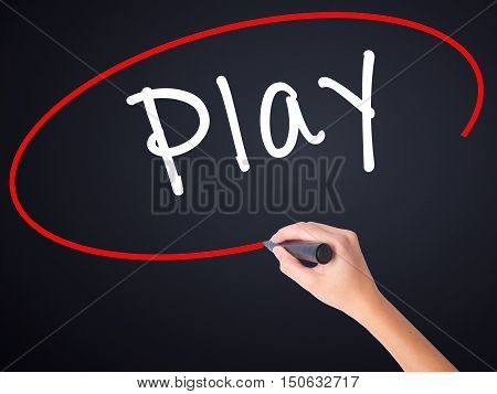 Woman Hand Writing Play With A Marker Over Transparent Board