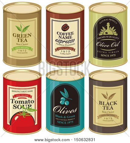 set Vector illustration of a tin can with label of olives tea coffee and tomato soup
