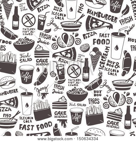 Fast food seamless pattern made of doodle food and drink illustrations.