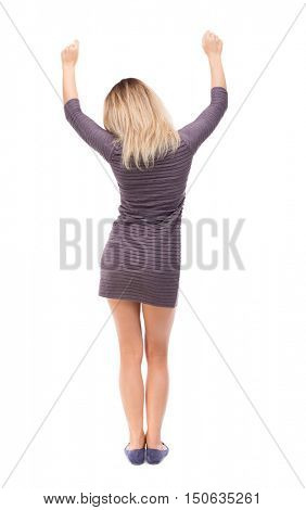 Back view of  business woman.  Raised his fist up in victory sign.    Raised his fist up in victory sign.  Rear view people collection.  backside view of person.  Isolated over white background The