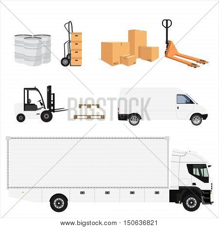 Delivery service icon set. Vector illustration pile of cardboard boxes. Hand truck. Delivery transport cargo truck and van. Wooden pallet and pallet jack