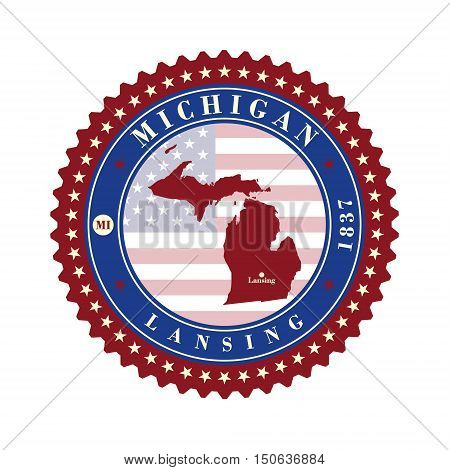 Label sticker cards of State Michigan USA. Stylized badge with the name of the State year of creation the contour maps and the names abbreviations.