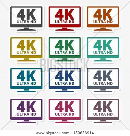 Color 4K ultra hd tv sticker set