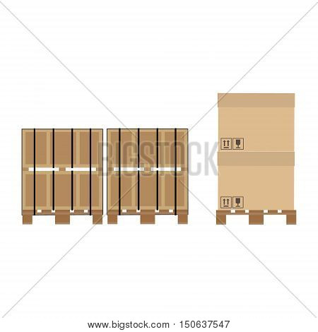 Vector illustrartion pallet for transport and storage crates cardboard boxes. Packed crates