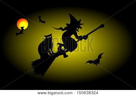 Witch on a broomstick , witch , hag ,