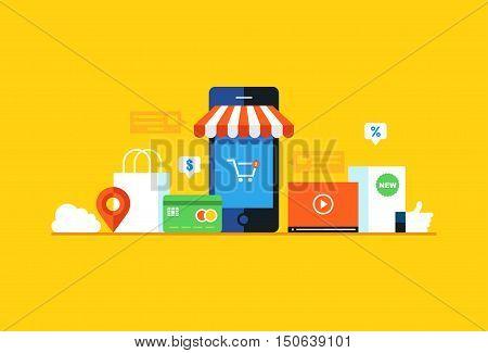 Mobile marketing , e-marketing, e-comerce. Flat design style modern vector illustration.
