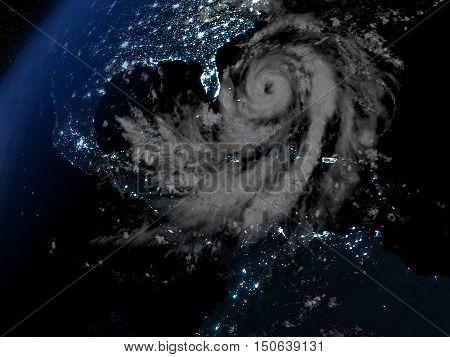 Hurricane Matthew Approaching Florida At Night