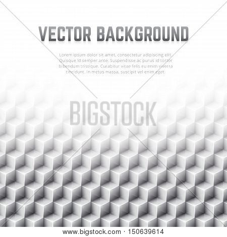 Monochrome abstract geometric vector background. Poster design template with gray glossy 3D cubes pattern and blank space for text.