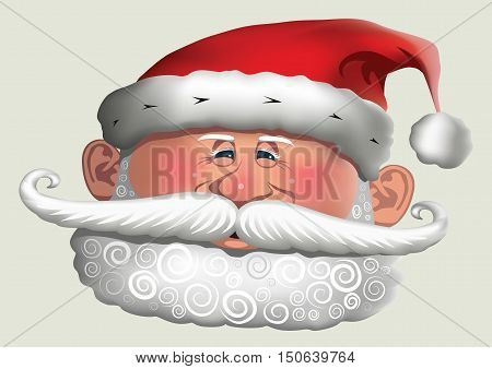 Christmas Santa Clause with a smiling face, curly beard and big moustache.