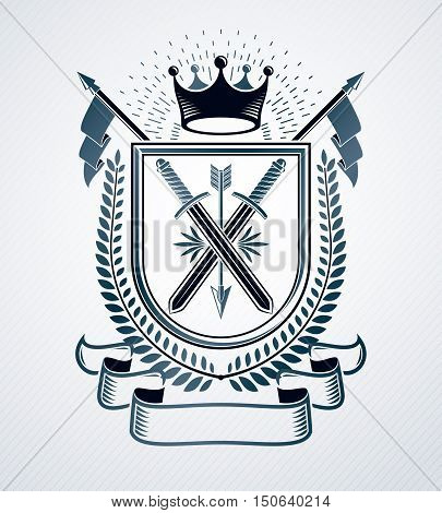 Classy emblem vector heraldic Coat of Arms made with two swords crossed and royal crown