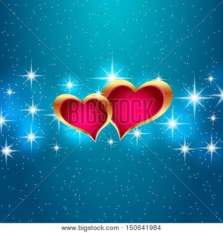 Love star night background beautiful bright hearts
